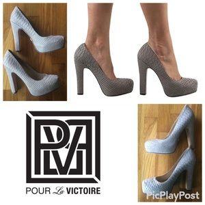 Pour La Victoire Grey Irina II Snake Platforms 8.5